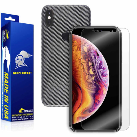 Apple iPhone Xs Screen Protector + Black Carbon Fiber