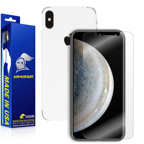 Apple iPhone Xs Max Screen Protector + White Carbon Fiber