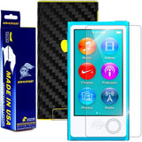 Apple iPod Nano 7G 7th Generation Screen Protector + Black Carbon Fiber Skin Protector