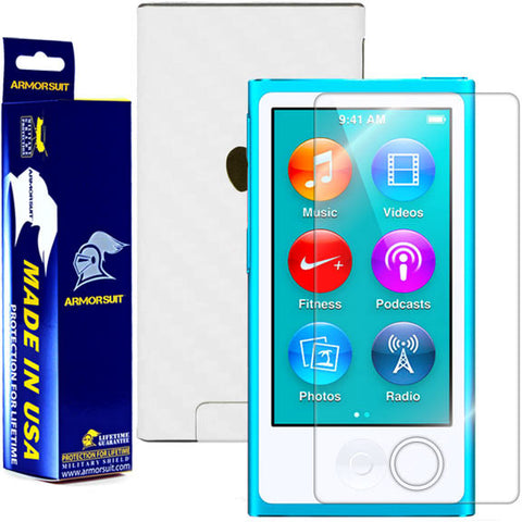 Apple iPod Nano 7G 7th Generation Screen Protector + White Carbon Fiber Skin Protector