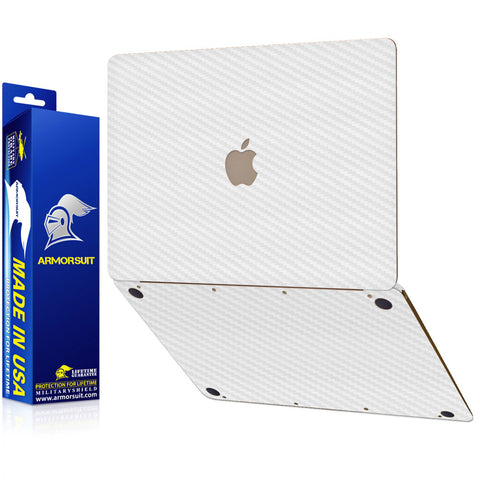 "Apple Macbook 12"" (2015) White Carbon Full Body Skin Protector"