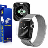 Apple Watch 38mm (Series 2) Screen Protector + Black Carbon Fiber Skin
