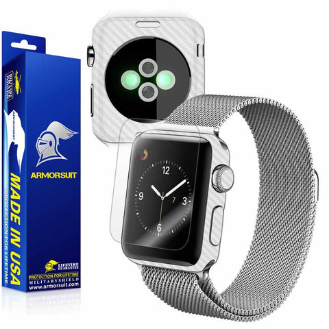 Apple Watch 38mm (Series 2) Screen Protector + White Carbon Fiber Skin