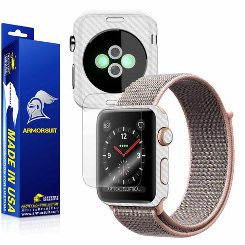 Apple Watch 38mm (Series 3) Screen Protector + White Carbon Fiber Skin Protector