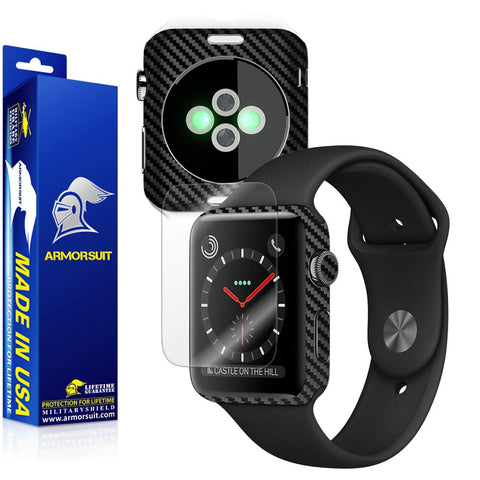 Apple Watch 42mm (Series 3) Screen Protector + Black Carbon Fiber Skin Protector
