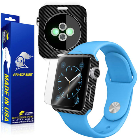 Apple Watch 38mm (Sereis 1) Screen Protector + Black Carbon Fiber Skin Protector