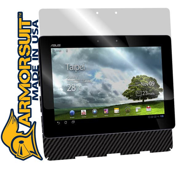ASUS Eee Pad Transformer TF101 Screen Protector + Black Carbon Fiber Skin Protector