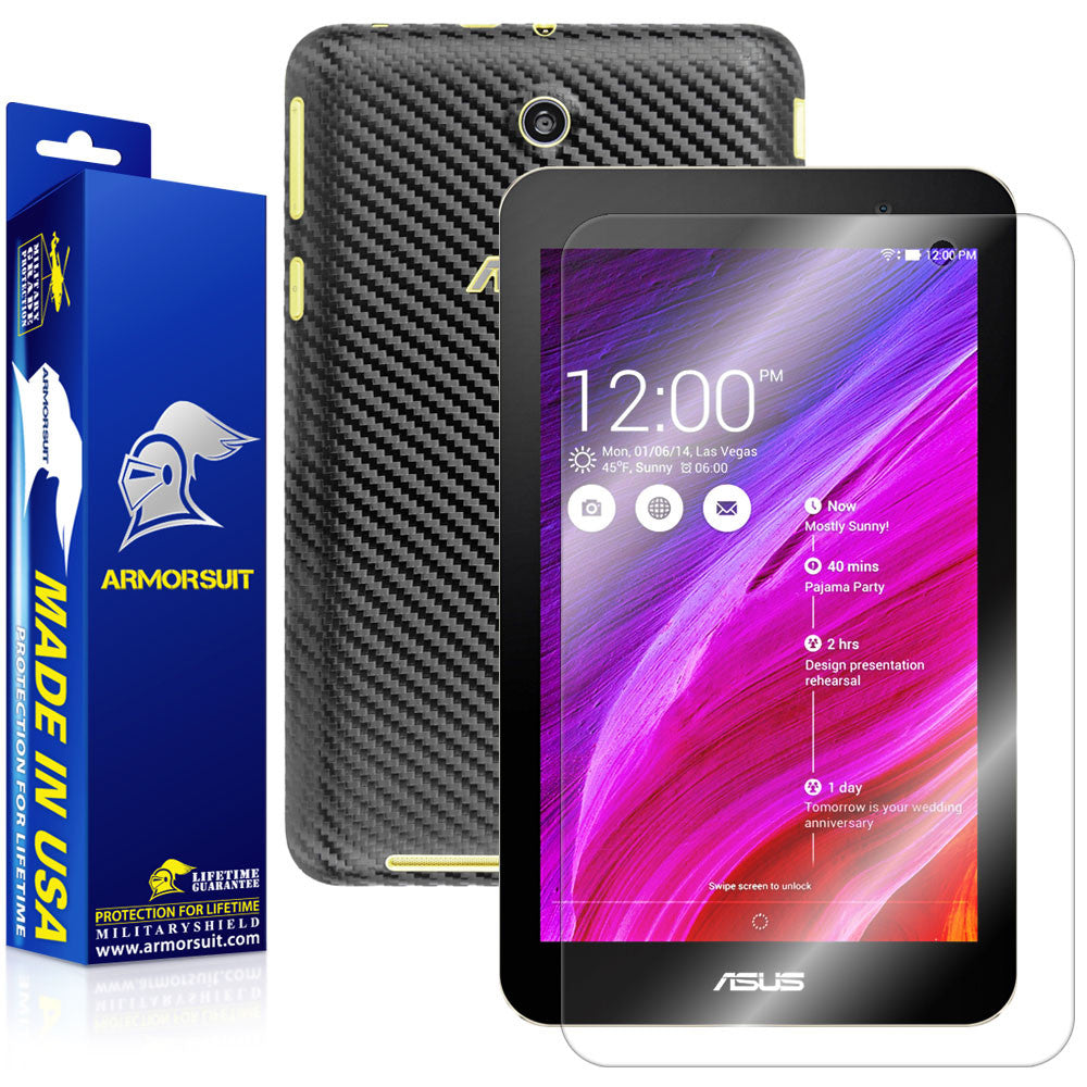 ASUS MeMO Pad 7 ME176CX Screen Protector + Black Carbon Fiber Film Protector