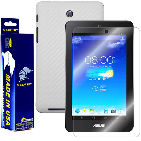 ASUS MeMO Pad HD 7 ME173X Screen Protector + White Carbon Fiber Film Protector