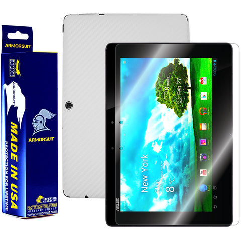 ASUS Transformer Pad TF300 Screen Protector + White Carbon Fiber Skin Protector