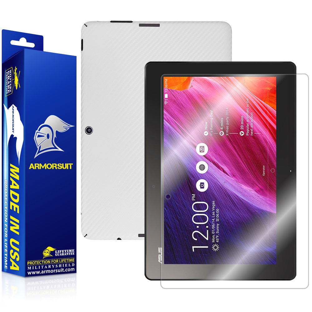 ASUS Transformer Pad TF103C / MG103C Screen Protector + White Carbon Fiber Film Protector