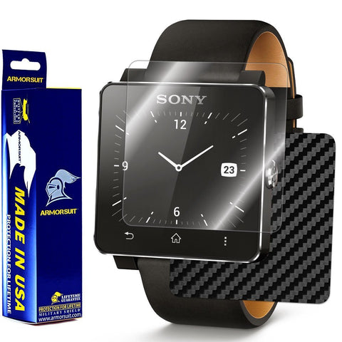 Sony SmartWatch 2 Screen Protector + Black Carbon Fiber Film Protector