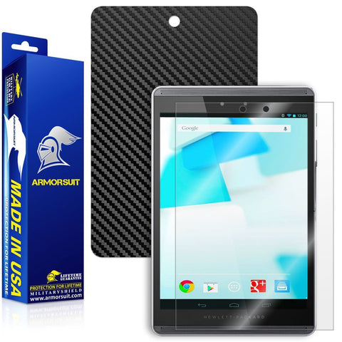 HP Pro Slate 8 Screen Protector + Black Carbon Fiber Skin