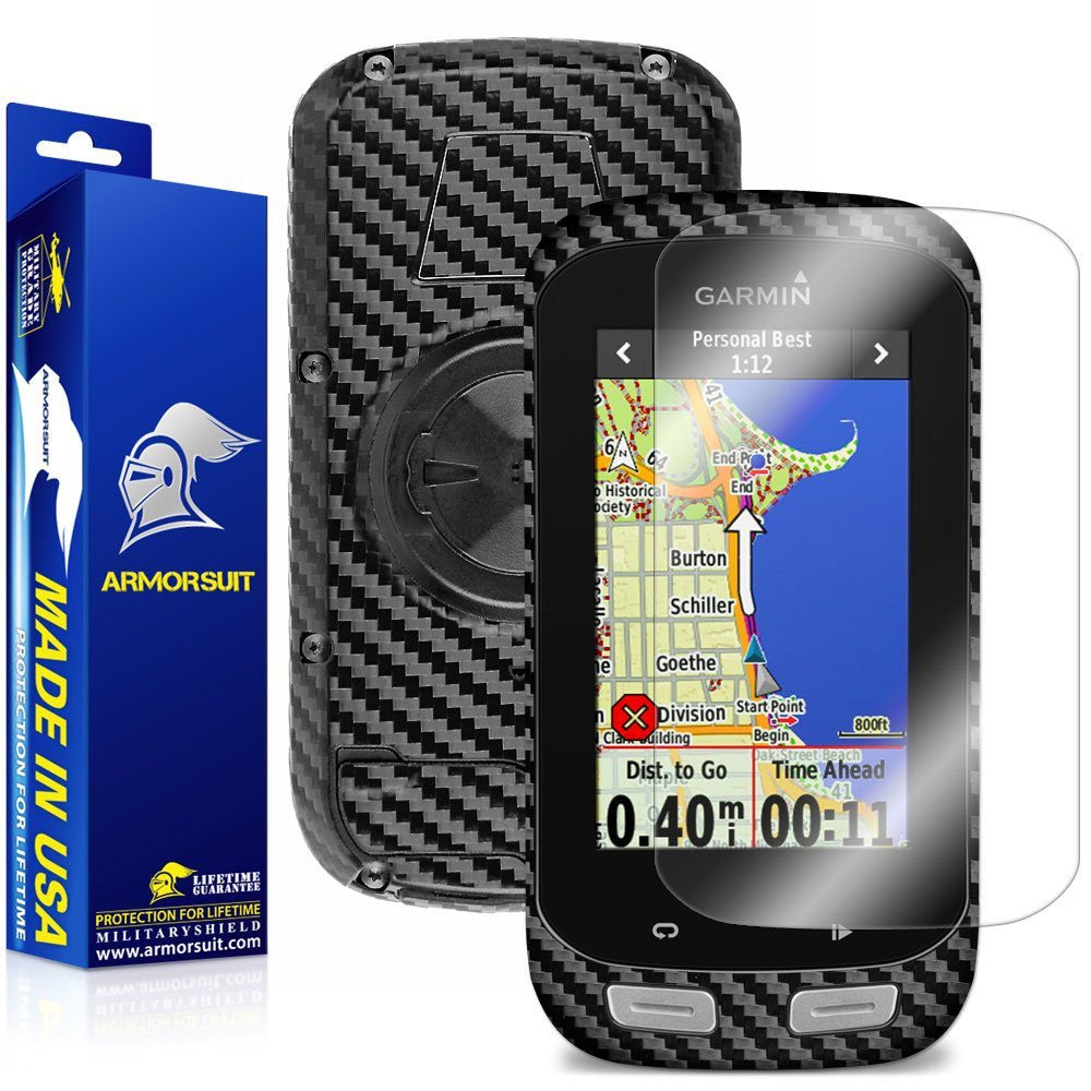 Garmin Edge 1000 Screen Protector + Black Carbon Fiber Skin