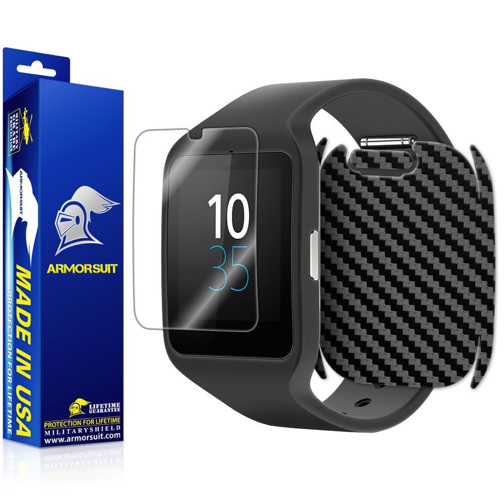 Sony SmartWatch 3 Screen Protector + Black Carbon Fiber Skin