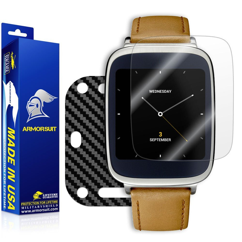 Asus ZenWatch Screen Protector + Black Carbon Fiber Skin
