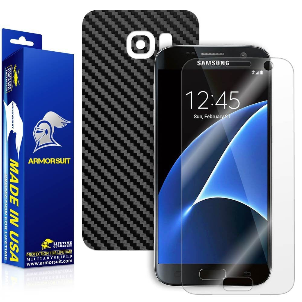 Samsung Galaxy S7 Plus Screen Protector [Full Screen Coverage] + Black Carbon Fiber Skin