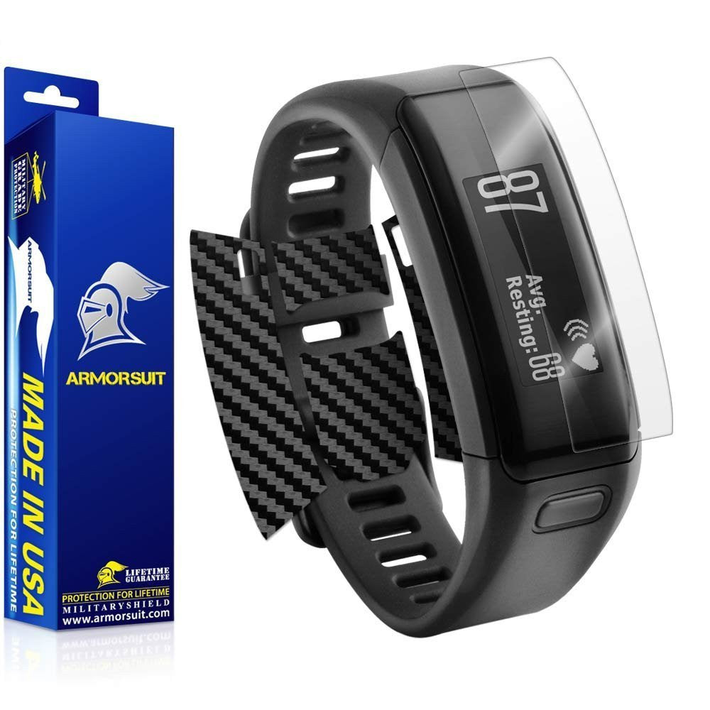 Garmin Vivosmart HR Screen Protector + Black Carbon Fiber Skin