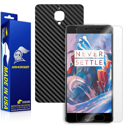 OnePlus 3 Screen Protector + Black Carbon Fiber Skin