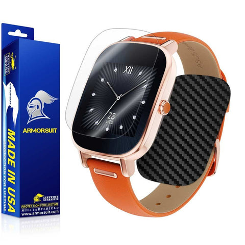 ASUS ZenWatch 2 1.45 Screen Protector + Black Carbon Fiber Skin