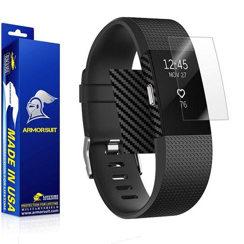 Fitbit Charge 2 Screen Protector + Black Carbon Fiber Skin