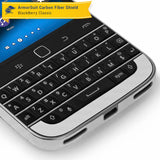 BlackBerry Classic (Q20) Screen Protector + White Carbon Fiber Skin