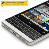 BlackBerry Passport Sliver Edition Screen Protector + White Carbon Fiber Skin