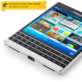 BlackBerry Passport Screen Protector + White Carbon Fiber Skin