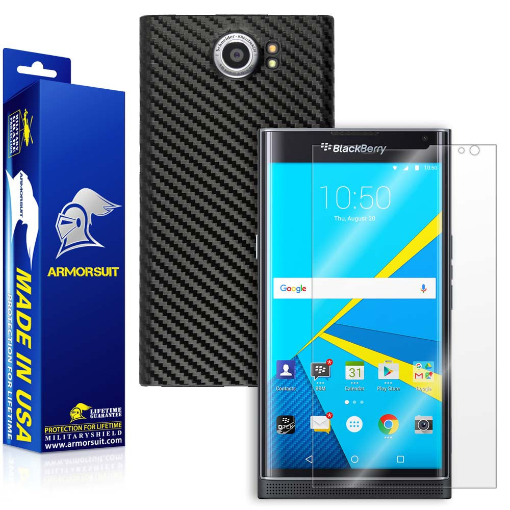 BlackBerry Priv Screen Protector + Black Carbon Fiber Skin