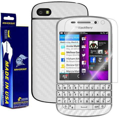 BlackBerry Q10 Screen Protector + White Carbon Fiber Film Protector