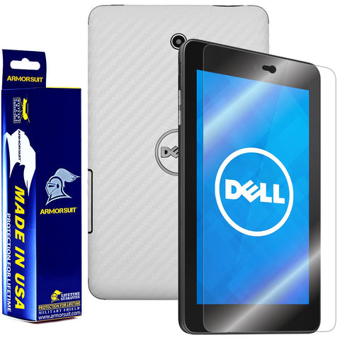 Dell Venue 7 Screen Protector + White Carbon Fiber Film Protector