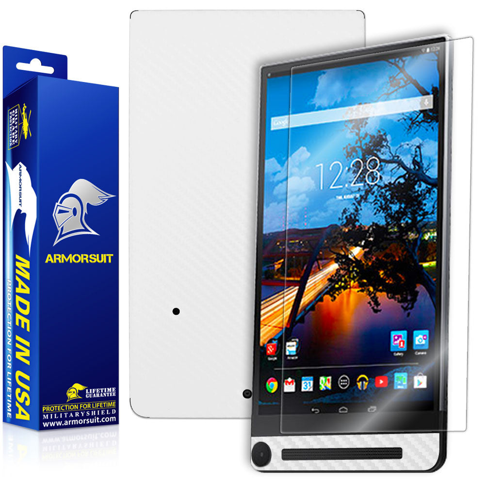 Dell Venue 8 7840 Screen Protector + White Carbon Fiber Skin