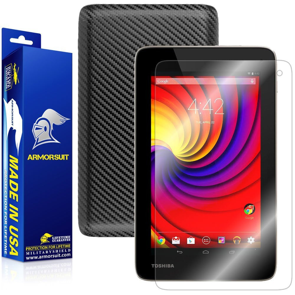 Toshiba Excite Go Screen Protector + Black Carbon Fiber Film Protector