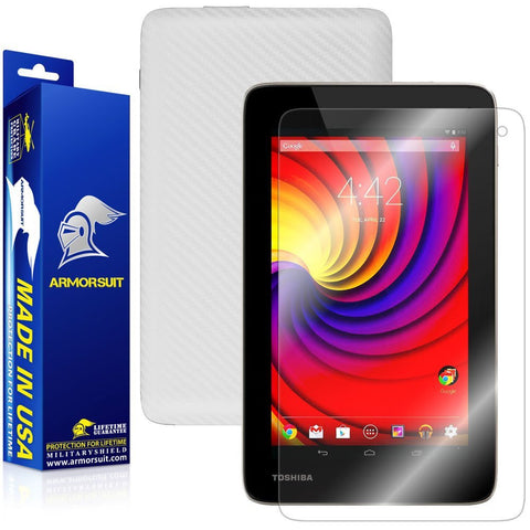 Toshiba Excite Go Screen Protector + White Carbon Fiber Film Protector