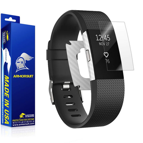 Fitbit Charge 2 Screen Protector + White Carbon Fiber Skin
