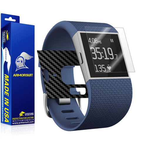Fitbit Surge Fitness Superwatch Screen Protector + Black Carbon Fiber Skin