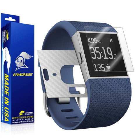 Fitbit Surge Fitness Superwatch Screen Protector + White Carbon Fiber Skin
