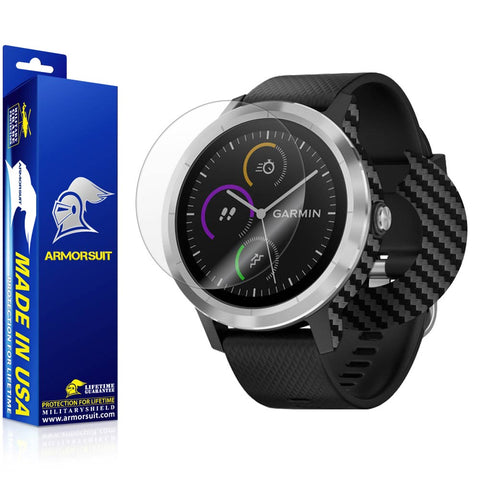 Garmin Vivoactive 3 Screen Protector + Black Carbon Fiber Skin