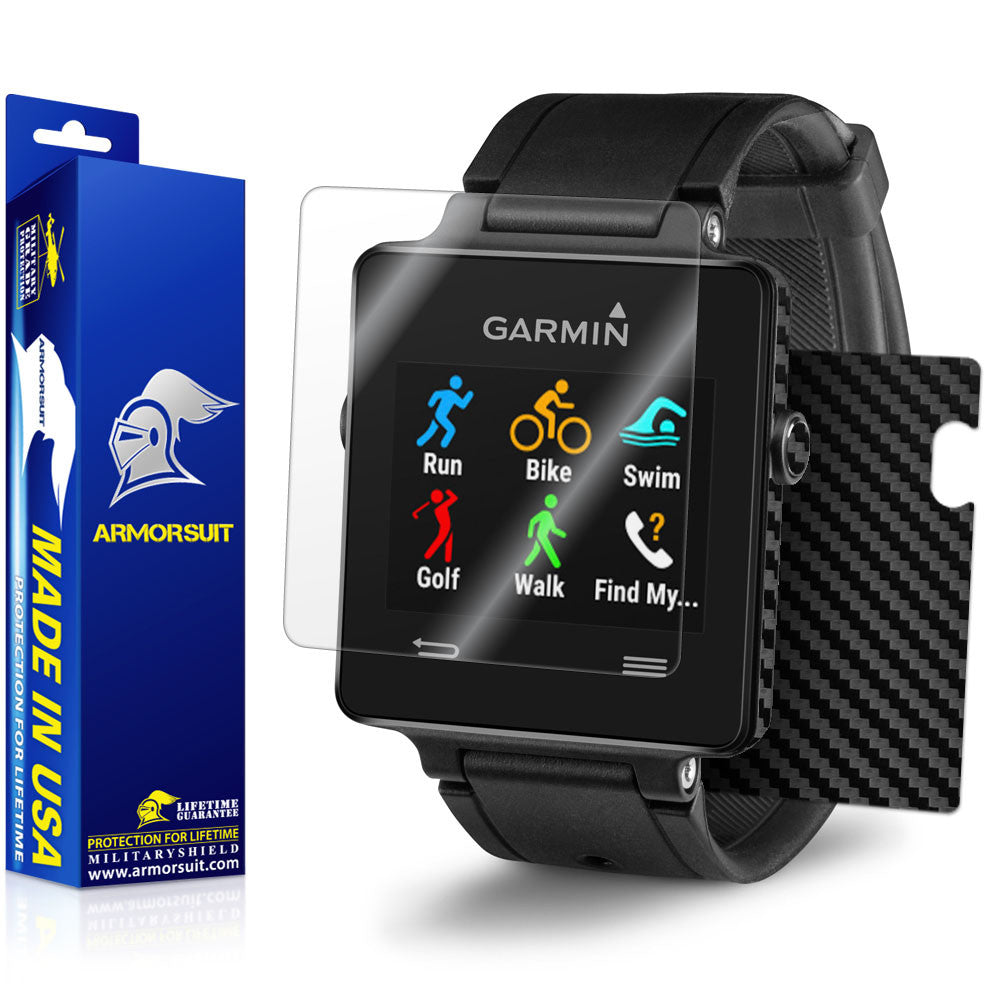 Garmin Vivoactive Screen Protector + Black Carbon Fiber Skin