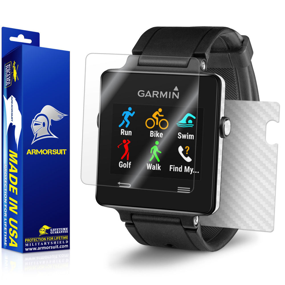 Garmin Vivoactive Screen Protector + White Carbon Fiber Skin