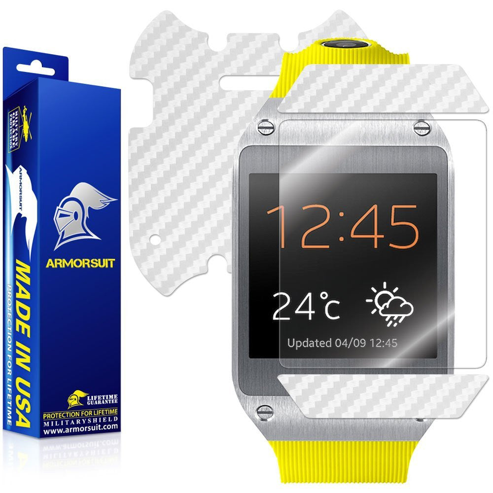 Samsung Galaxy Gear Screen Protector + White Carbon Fiber Skin Protector