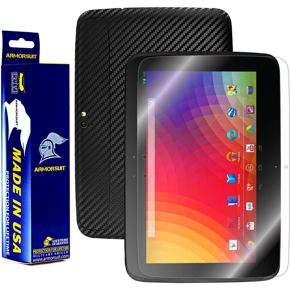 Google Nexus 10 Screen Protector + Black Carbon Fiber Film Protector