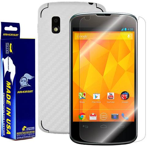 LG Nexus 4 Screen Protector + White Carbon Fiber Film Protector
