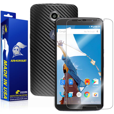 Google Nexus 6 Screen Protector + Black Carbon Fiber Skin