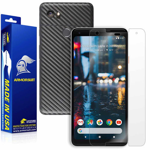 Google Pixel 2 XL Screen Protector + Black Carbon Fiber Skin