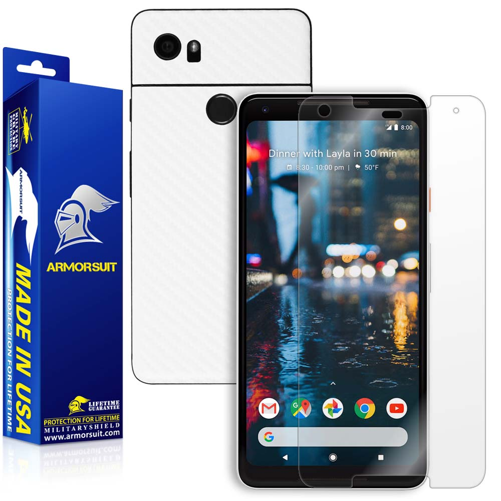 Google Pixel 2 XL Screen Protector + White Carbon Fiber Skin