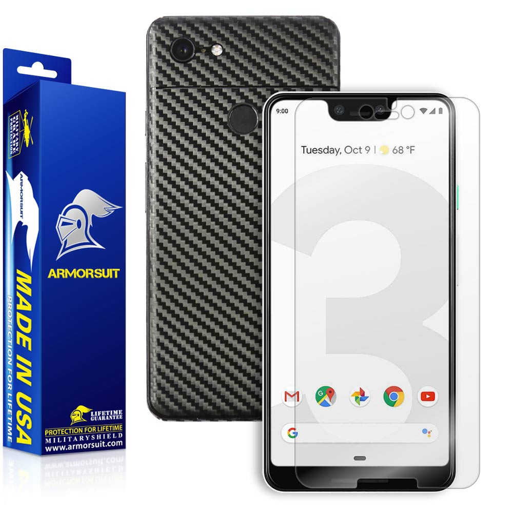 Google Pixel 3 XL Screen Protector + Black Carbon Fiber Skin