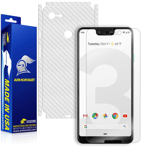 Google Pixel 3 XL Screen Protector + White Carbon Fiber Skin