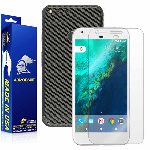 Google Pixel XL Screen Protector + Black Carbon Fiber Skin