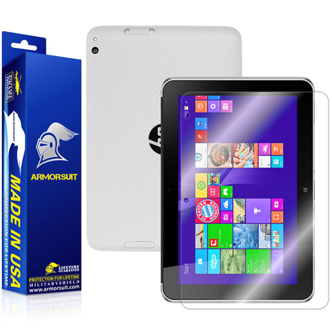 HP ElitePad 1000 G2 Screen Protector + White Carbon Fiber Skin